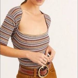 Free People Wild Stripe Square Neck Knit Tee XS